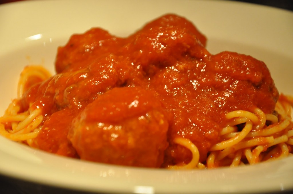 Meatballs with Red Sauce and Pasta